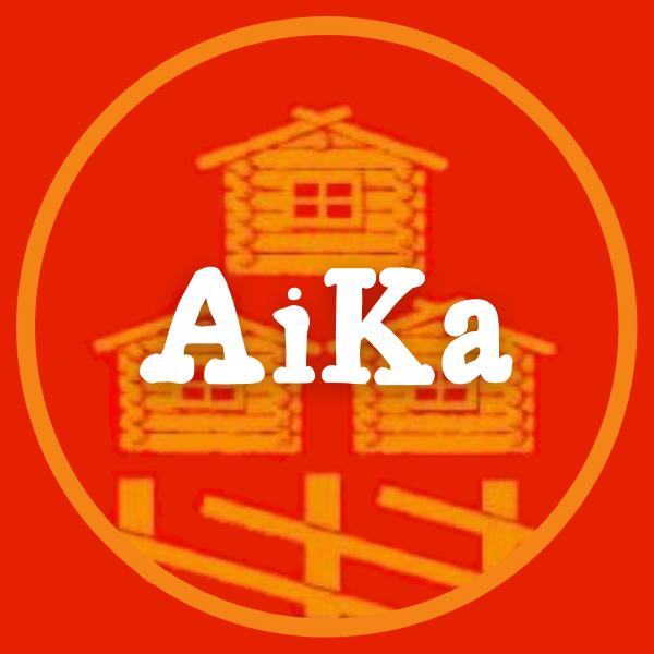 Aika ry:n logo punaisella taustalla
